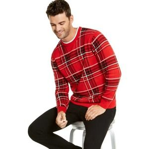 Charter Club Men Red Plaid Family Sweater Size S